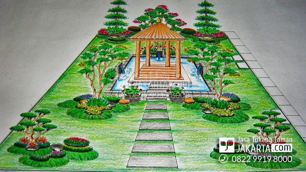 Desain Sketsa Taman rumah di Jakarta
