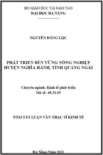 Phát triển bền vững nông nghiệp huyện Nghĩa Thành tỉnh Quảng Ngãi