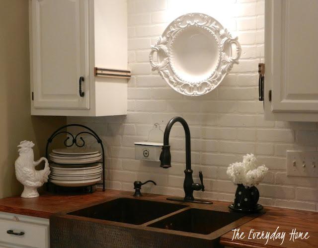 White Kitchen Cabinets Corbels Faux Backsplash Brick Paint