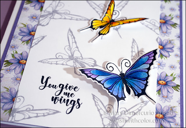 Rubbernecker Stamps, Brush Butterflies, colored with Prismacolor Pencils
