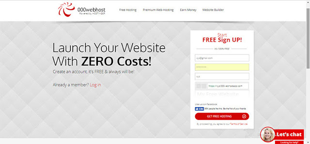 Register for 000webhost. Free WordPress hosting