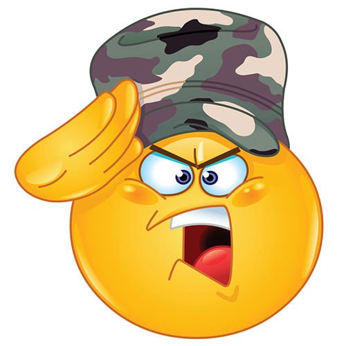 Saluting smiley - Army emoticon