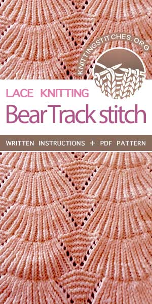 KnittingStitches.org -- The Art of Lace Knitting, knit Old Shale Lace stitch, free stitch pattern #knittingstitches #knitlace
