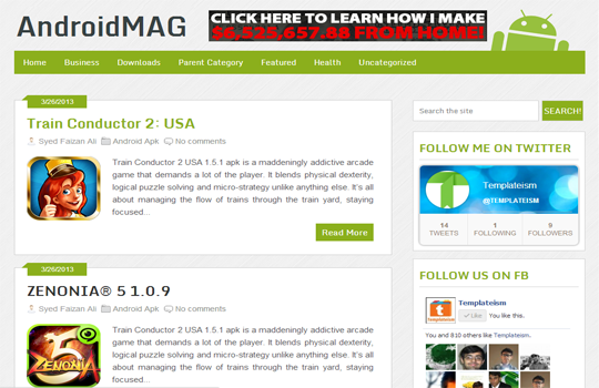 AndroidMag Is a Blogger Template for Smartphone Lovers