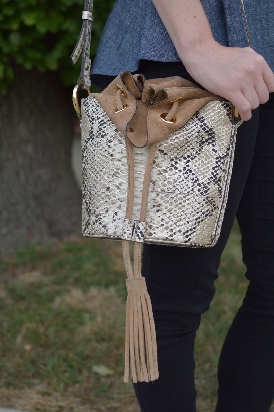 snakeskin bucket bag | bucket bags | a memory of us | fall trends 2016