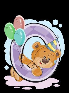 Números con Osito Cumpleañero. Numbers with Birthday Bear.