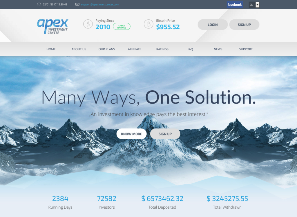 apex investment Apex investment center is a hyip (high yield investment progam) that gives importance on activities like forex, sales of new and second hand cars, cryptocurrency trading/mining and sale of lands and houses that generate profit.