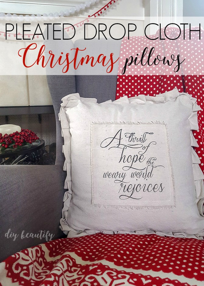 Did you know you can use your home printer to print on drop cloth? That's how I made these pleated drop cloth pillows! See more at diy beautify!