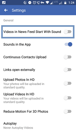 Turn off sound from Facebook video