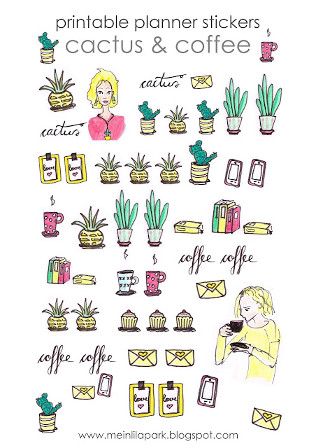 Free printable cactus and coffee planner stickers – DIY sticker – freebie
