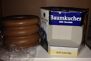 A baumkuchen ring cake, from Aldi, sitting outside of its original packaging
