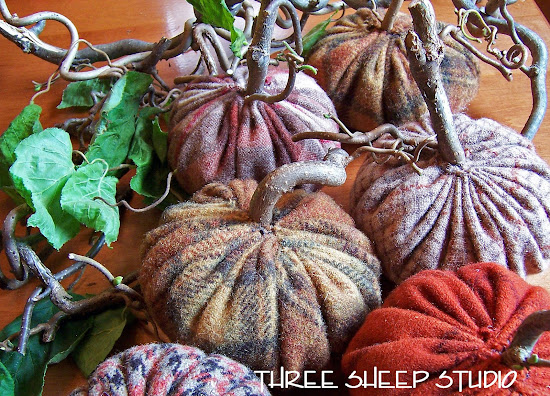 Free 'How To' - Rustic Wool Pumpkins with Angry Gnarled Stems by Rose Clay at ThreeSheepStudio.com (go to Blog)