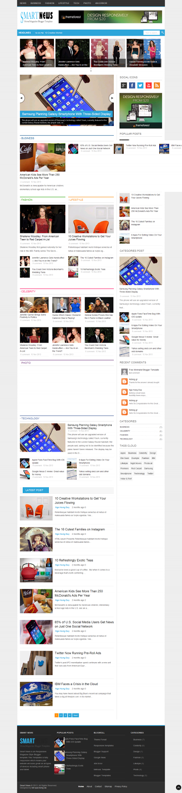 Smart News Responsive Blogger Template