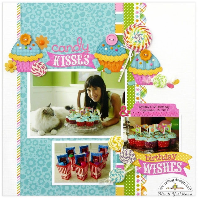 Doodlebug Chunky Twine Candy Kisses & Birthday Wishes Layout by Mendi Yoshikawa