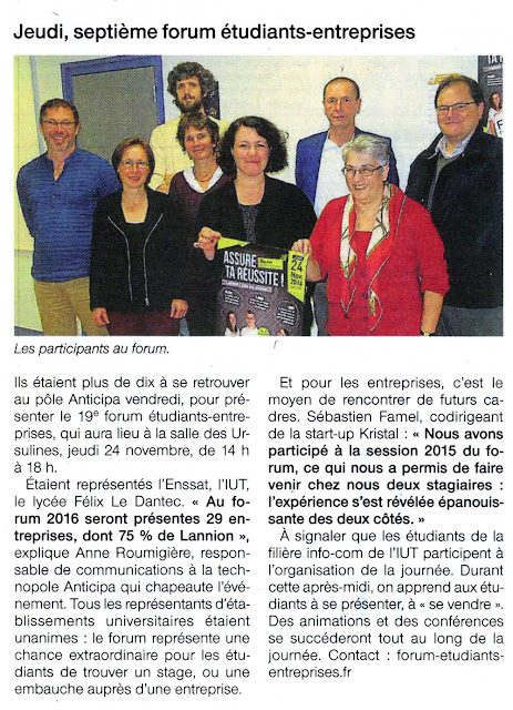 Article Ouest France, 15 nov. 2016