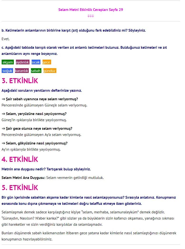 3. Sınıf Türkçe Çalışma Kitabı Cevapları Dikey Yayınları Sayfa 29