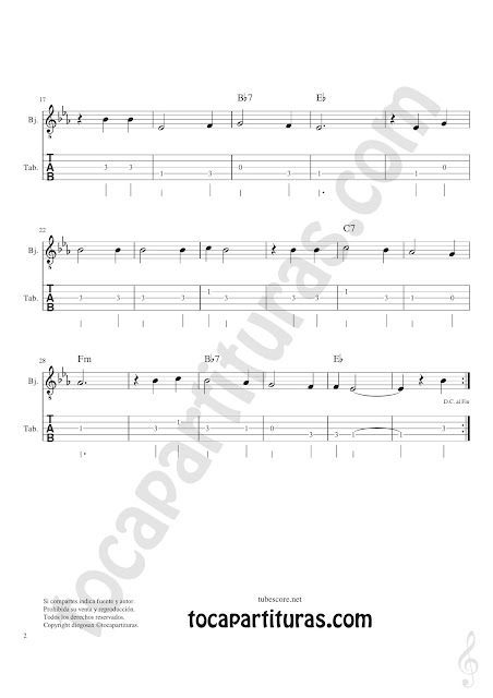 Banjo Tablatura y Partitura Original de Tutaina Villancico Punteo Tablature Sheet Music for Banjo Tabs Music Scores