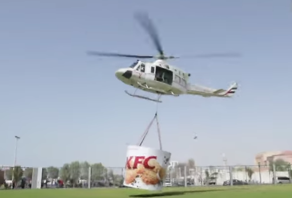 KFC delivers by helicopter to Dubai beach goers