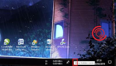 Setelah itu pilih dan klik tombol arah panah keatas yang merupakan tombol Show hidden icons