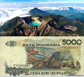 Gambar Danau Kalimuti di Uang 5000 Rupiah