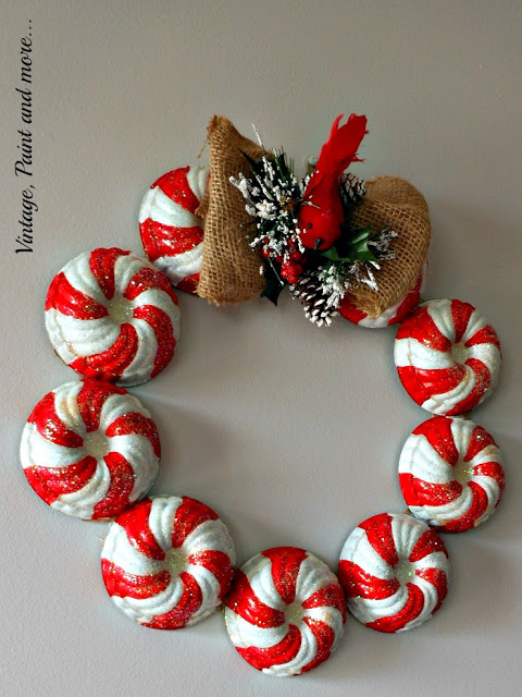 diy wreath made from vintage jello molds and painted in a candy stripe