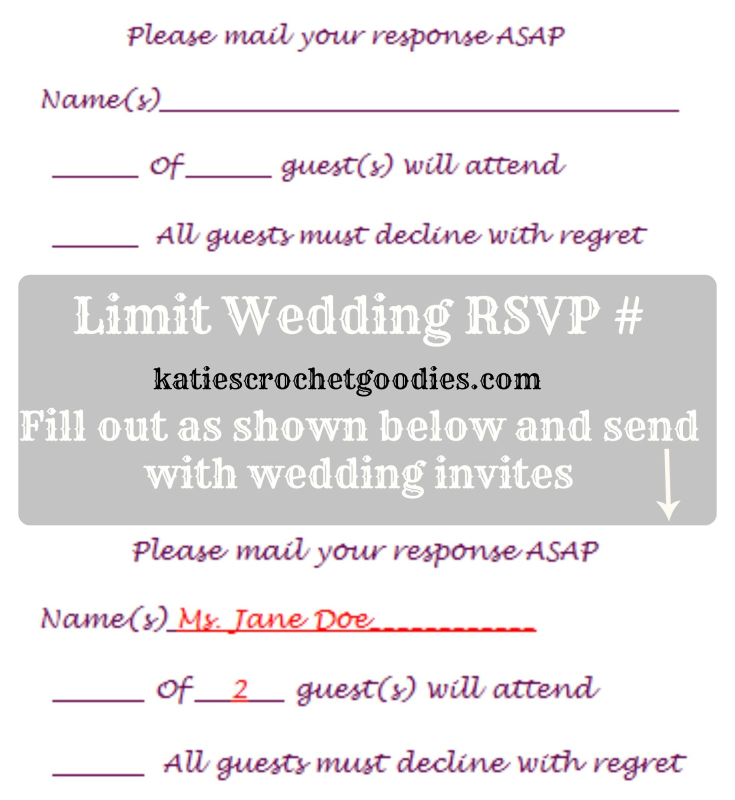 Free Wedding Templates RSVP Reception Cards Katies Crochet – Free Wedding Rsvp Card Templates