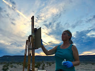 Rachel painting on location