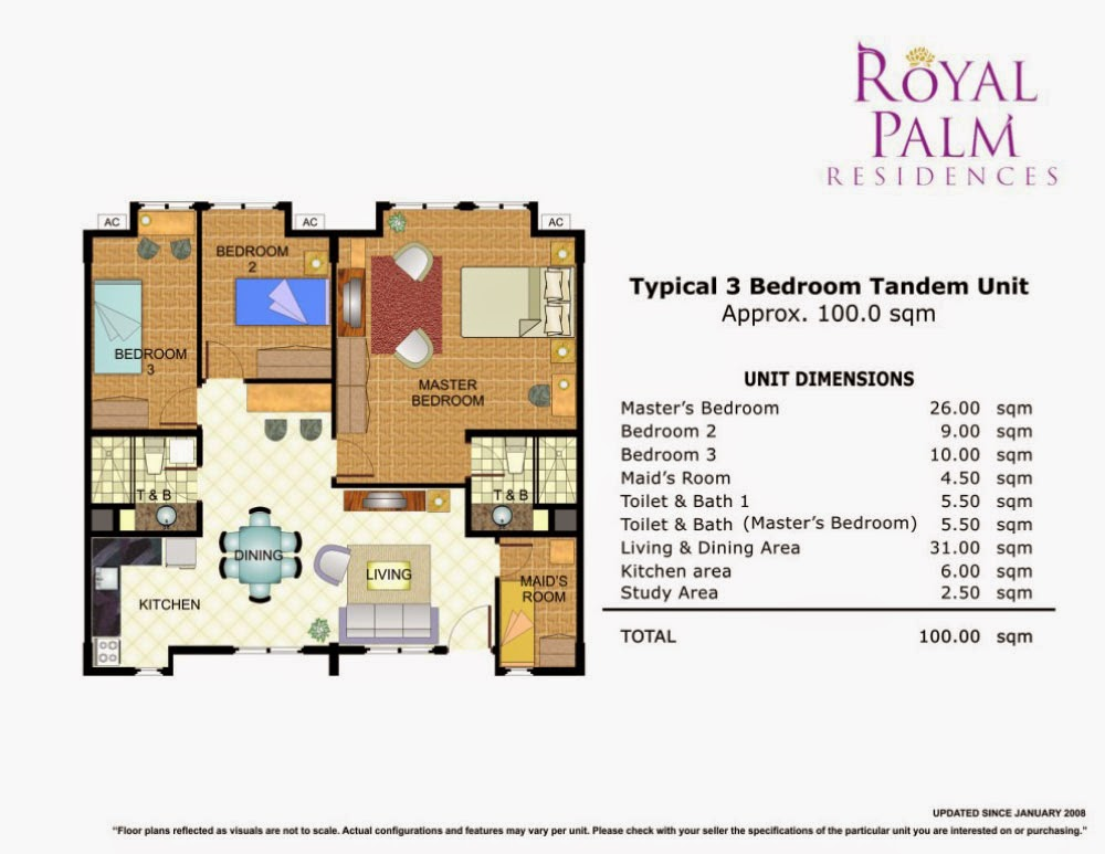 Royal Plam Residences - 3 Bedroom Tandem Unit 100.00 sqm.