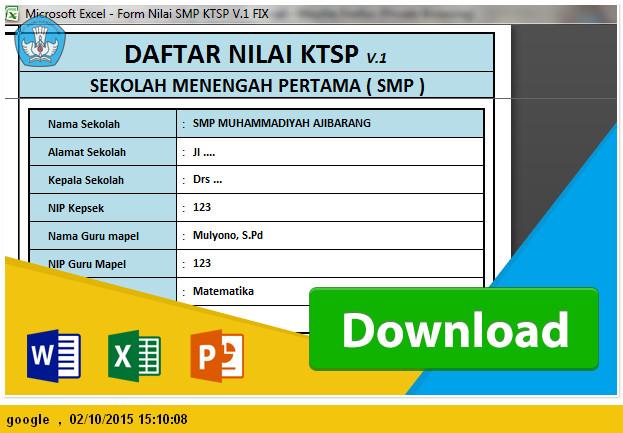 DOWNLOAD APLIKASI NILAI RAPORT SMP KTSP TERBARU 2015-2016