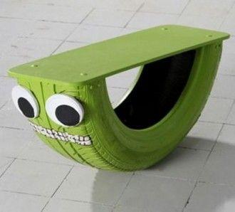 huśtawka z opony dla dzieci zielona