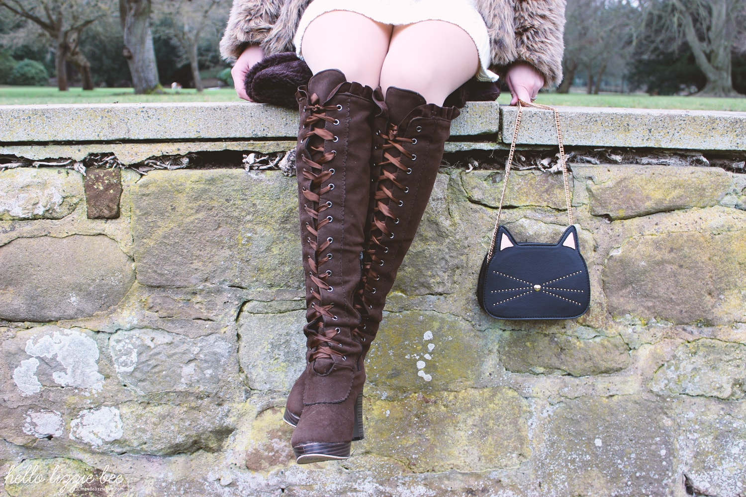 over the knee laced boots, primark cat bag