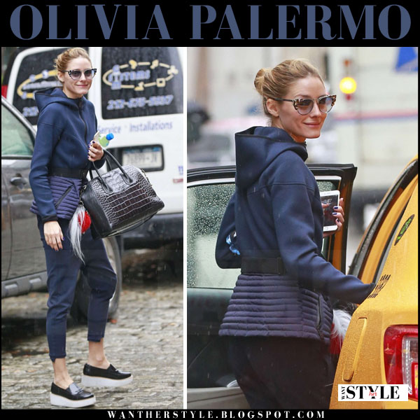 8a79465ced4 Olivia Palermo in blue belted jacket and blue pants in Brooklyn on ...