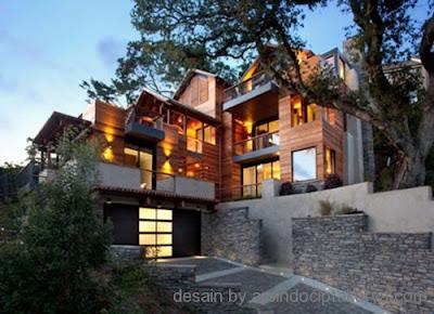 Desain Rumah Campuran Beton dan Kayu
