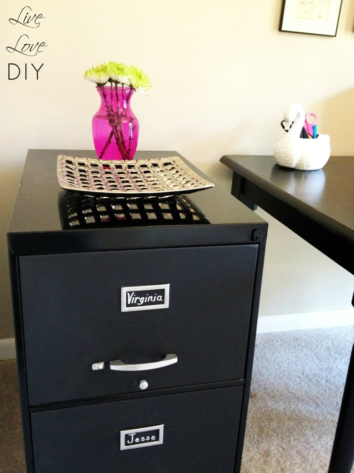 Chalkboard Paint File Cabinet Livelovediy I Accessorized Paul With A Cute Silver Tray And Some Fresh Flowers