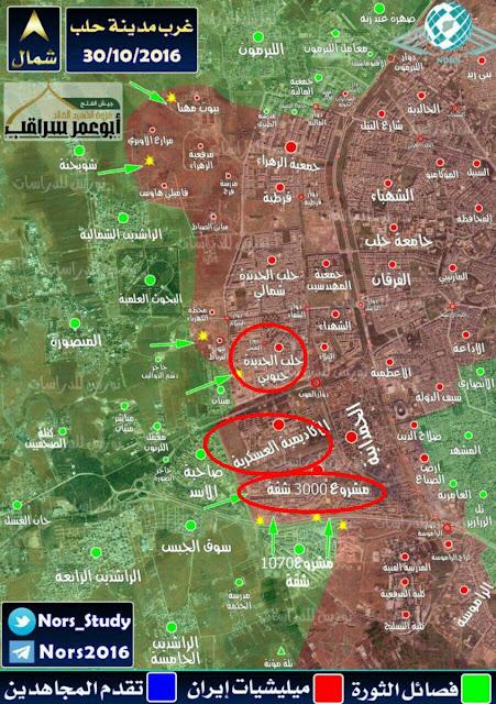 peta situasi pertempuran di barat aleppo 30/10/2016