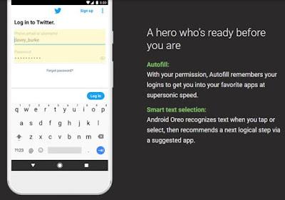Fitur Baru Autofill dan smart selection Android Oreo Yang Keren