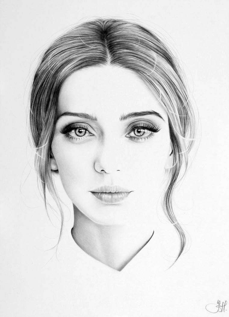 12-Angela-Sarafyan-Commission-Ileana-Hunter-Drawings-of-Minimalist-Realism-Meets-Celebrities-www-designstack-co