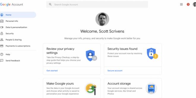 صفحة حساب جوجل على الويب تحصل على تصميم جديد