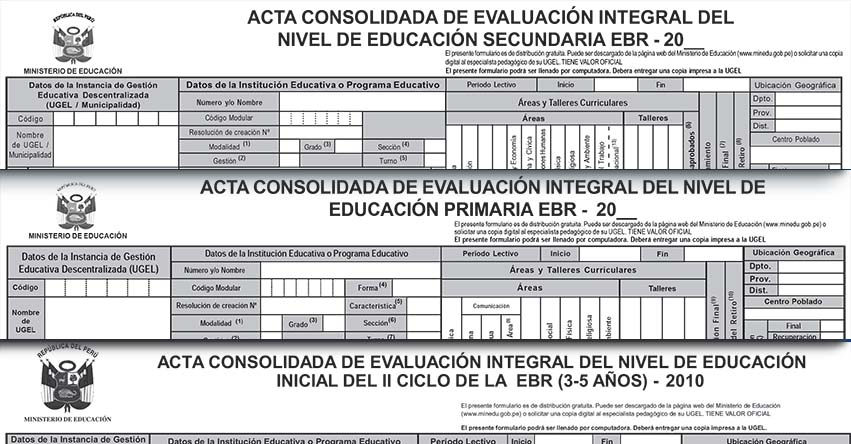 Formatos Oficiales de Acta Consolidada de Evaluacion Integral - EBR 2010 - MINEDU - www.minedu.gob.pe