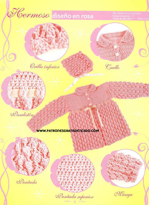 Hermoso abrigo y gorra crochet