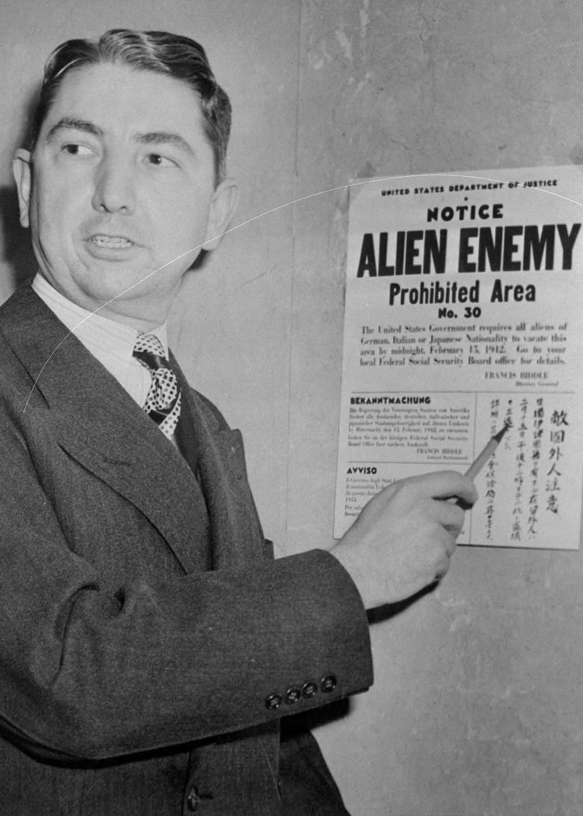 Tom C. Clark, coordinator of the Alien Enemy Control program of the Western Defense Command.