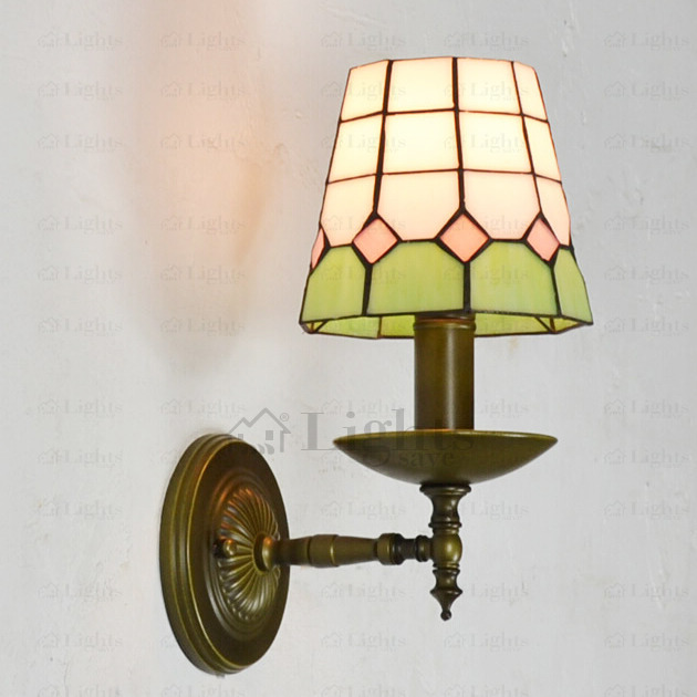 Green and White Glass Shade E14 Tiffany Wall Sconces