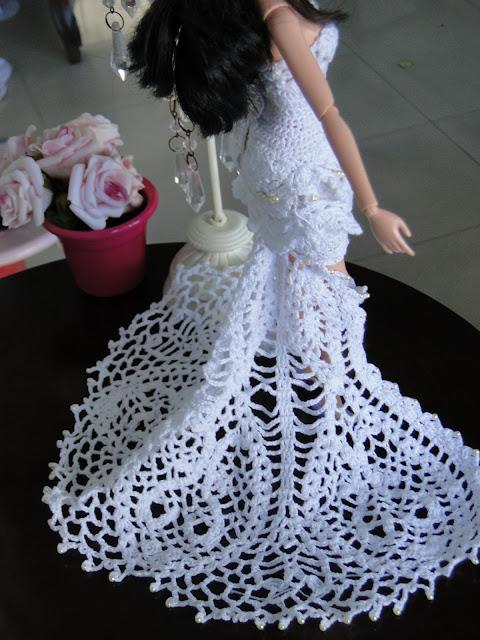 Vestido de noiva de crochê para Barbie, por Pecunia MillioM 5