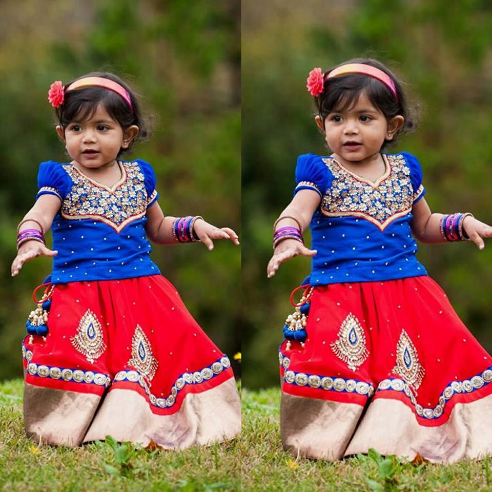 f4ef2b80c4064 Red Lehenga Blue Work Blouse - Indian Dresses