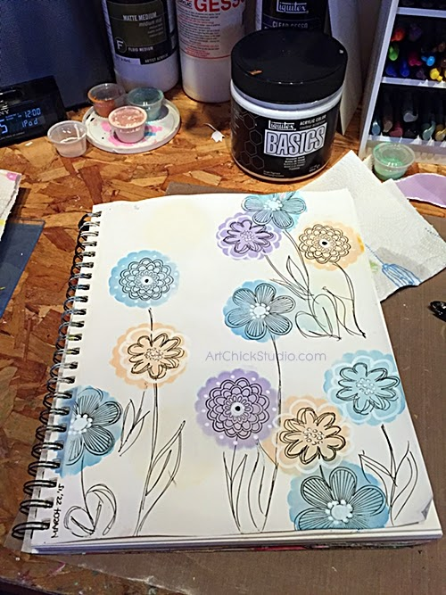 Art Journal Page of Flowers