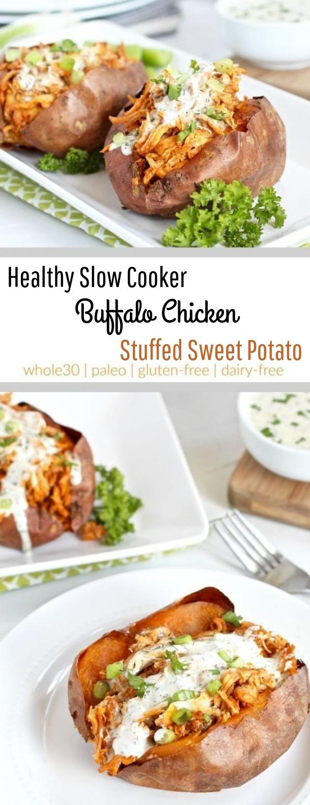 Slow Cooker Buffalo Chicken Stuffed Sweet Potato #slowcooker #paleo