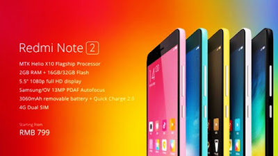 Redmi Note 2 dan Note 2 Prime Menggunakan Prosesor MediaTek Helio X10