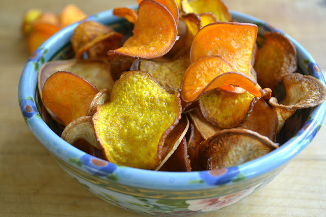 A bowl of homemade Root Vegetable Kettle Chips