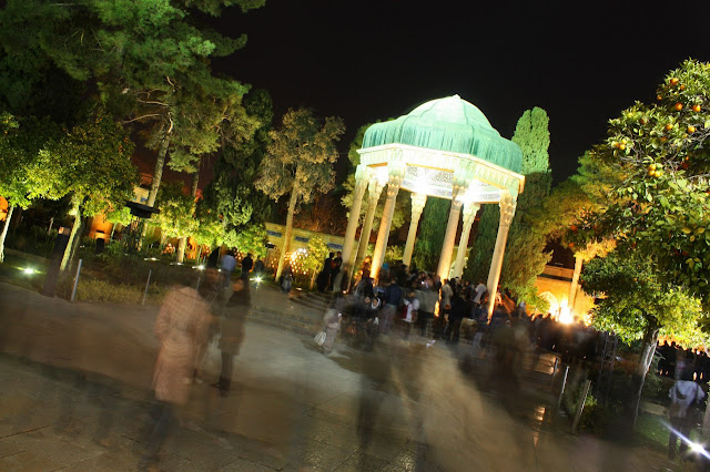 people visiting Hafez (Hafiz) Tomb in Shiraz, Iran.