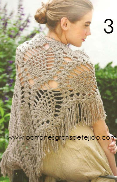 Chal crochet color beige